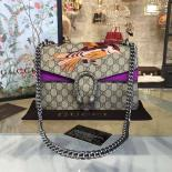 Copy Gucci Dionysus GG Supreme Canvas Shoulder Medium Bag With Bee Embroidery Fall/Winter 2016 Collection, Purple Suede/Beige