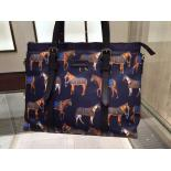 Copy Gucci Horse-Print Large Nylon Tote Bag Original Leather Fall/Winter 2015 Runway, Ink Blue/Red