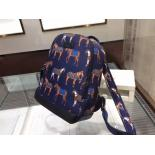 Copy Gucci Horse-Print Small Nylon Backpack Original Leather Fall/Winter 2015 Runway, Ink Blue/Red
