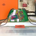 Copy Hermes Silk Fourbi Carre En Cravates GM Bag Insert With Etoupe Leather Fall/Winter 2016 Collection, Green/White Multicolor