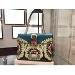 Copy Valentino Top Handle Satchel Bag Calfskin Leather Spring/Summer 2015 Bag Collection, Blue/Off White Floral Printed