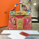 Customized Hand Painted Hermes Kelly 32cm Togo Calfskin Bag Handstitched Gold Or Palladium Hardware, Red/Gold Combo Multicolor