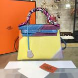 Customized Hand Painted Hermes Kelly 32cm Togo Calfskin Bag Handstitched Gold Or Palladium Hardware, Yellow/Purple Multicolor Graffiti