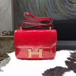 Customized Hermes Constance 23cm Shiny Alligator Crocodile Original Leather Fully Handstitched Lizard Marquette, Braise CK95