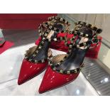 Designer Replica Valentino Rockstud Leather Mid-Heel Slingback Patent Leather 2015 Collection, Red/Nero Colorblock