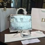 Dior Crinkled Metallic Diorever Large Calfskin Leather Bag Fall/Winter 2016 Collection, Siver
