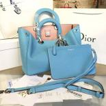 Diorissimo Tote Large Bag Grained Calfskin Leather Bag Fall/Winter 2016 Collection, Light Blue/Pink