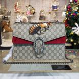 Discount Gucci Dionysus GG Supreme Shoulder Large Bag With Bee Embroidery Fall/Winter 2016 Collection, Burgundy/Beige