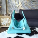 Discount Hermes Lindy 26cm/30cm Taurillon Clemence Calfskin Bag Handstitched Q Stamp, Blue Atoll 3P