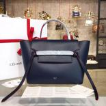 Fake Celine Belt Top Handle Mini Bag Smooth Calfskin Leather Pre-Fall Winter 2016 Collection, Navy Blue With Red Piping