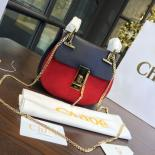 Fake Chloe Drew Bi-Color Suede Mini Bag With Smooth Calfskin Fall/Winter 2016 Runway Bag Collection, Navy Blue/Red
