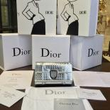 Fake Christian Dior Élancée Cannage Wallet Lambskin Leather Fall-Winter 2016 Collection, Metallic Silver