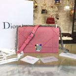 Fake Christian Dior Diorama Top Stitched Denim With Rhinestone Flower Clasp Silver Hardware Spring/Summer 2016 Collection, Pink