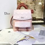 Fake Dior Stardust Cannage Stitched Small Multi-Coloured Backpack Lambskin Leather Fall-Winter 2016 Collection, White/Pink Sherbert