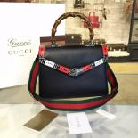 Fake Gucci Bamboo Top Handle Snakeprint Leather Medium Shoulder Bag Fall/Winter 2016 Collection, Black Multi