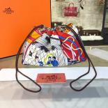 Fake Hermes Silk Fourbi Carre En Cravates GM Bag Insert With Etoupe Leather Fall/Winter 2016 Collection, White Multicolor