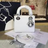 Fake Lady Dior Micro-Cannage Metallic Perforated Calfskin Leather 17cm Bag Winter 2016 Collection, White With Silver Chain