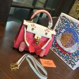Fake Limited Edition Hermes Mini Kelly Doll Bag 20cm Swift Leather With Croc Gold Hardware Singapore 50th Anniversary, Pink/Blanc