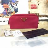 Fake Prada Comestic Pouch Toiletry Bag Canvas With Calfskin Leather, Red