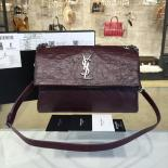 Fake YSL Saint Laurent 'West Hollywood' Croc Embossed Lambskin Leather Messenger Bag Fall/Winter 2016 Collection, Burgundy