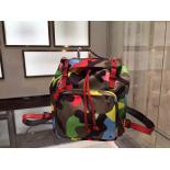 Famous Valentino Camouflage Rockstud Original Leather Tote Nylon Backpack, Multicolor Red