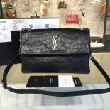 Famous YSL Saint Laurent 'West Hollywood' Croc Embossed Lambskin Leather Messenger Bag Fall/Winter 2016 Collection, Black