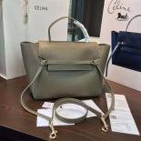 Fashion Celine Belt Top Handle Mini Bag Grained Calfskin Leather Pre-Fall Winter 2016 Collection, Grey