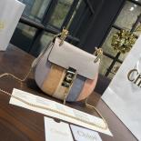 Fashion Chloe Drew Small Flower Patchwork Leather And Suede Shoulder Bag Pre-Fall 2016 Bag Collection, Multicolor Powder Blue