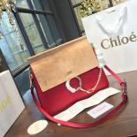 Fashion Chloe Faye Bi-Color Suede Large Shoulder Bag With Smooth Calfskin Fall/Winter 2016 Runway Collection, Red/Sand