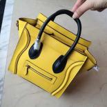 Fashion On SALE! Celine Nano Luggage Bag Drummed Calfskin Leather Cruise 2015 Collection, Yellow/Black