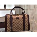 Gucci Classic Guccissima Boston Bag Original Canvas Smooth Leather Shoulder Bag With Strap, Brown