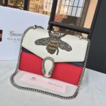 Gucci Dionysus GG Bumblebee Embroidery Medium Shoulder Bag Sequin Appliqué Fall/Winter 2016 Collection, White/Red/Blue