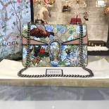 Gucci Dionysus GG Supreme Canvas Shoulder Large Bag Blooms Print With Bee Embroidery Fall/Winter 2016 Collection, Beige Suede/Beige