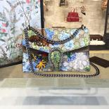 Gucci Dionysus GG Supreme Canvas Shoulder Medium Bag Blooms Print With Bee Embroidery Fall/Winter 2016 Collection, Tan Suede/Beige