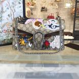 Gucci Dionysus GG Supreme Canvas Shoulder Medium Bag With Phoenix And Flowers Embroidery Fall/Winter 2016 Collection, Beige Suede/Beige