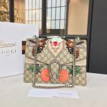 Gucci Dionysus GG Supreme Canvas With Bee/Heart Embroidery And Suede Shoulder Fall/Winter 2016 Collection, Beige