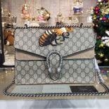 Gucci Dionysus GG Supreme Shoulder Large Bag With Bee Embroidery Fall/Winter 2016 Collection, Khaki/Beige