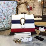 Gucci Dionysus Leather Bamboo Large Top Handle Bag Fall/Winter 2016 Collection, White/Navy Blue/Hibiscus Red