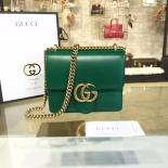Gucci GG Marmont Leather Shoulder Box Bag 431384 Fall/Winter 2016 Collection, Green