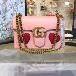 Gucci Marmont GG Supreme Hearts Medium Shoulder Bag Fall/Winter 2016 Collection, Light Pink/Red
