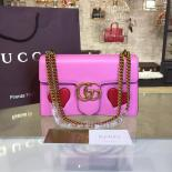 Gucci Marmont GG Supreme Hearts Medium Shoulder Bag Fall/Winter 2016 Collection, Pink Multi
