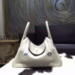 Hermes Lindy 26cm/30cm Taurillon Clemence Bag Hand Stitched Palladium Hardware, Pearl Grey CK80