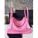 Hermes Lindy 30cm Taurillon Clemence Calfskin Leather Palladium Hardware Hand Stitched, Pink 5P