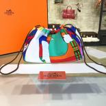 Hermes Silk Fourbi Carre En Cravates GM Bag Insert With Orange Leather Fall/Winter 2016 Collection, Green Abstract Multicolor