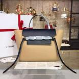 High Quality Celine Belt Top Handle Mini Bag Smooth Calfskin Leather Pre-Fall Winter 2016 Collection, Beige/Navy Blue