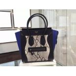High Quality Celine Micro Luggage Bag In Python Skin Fall Winter 2015 Collection, Multicolor/Blue Suede