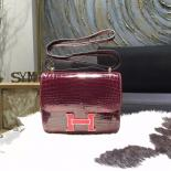 High Quality Customized Hermes Mini Constance 18cm Shiny Alligator Crocodile Original Leather Fully Handstitched Lizard Marquette, Bourgogne F5/Rouge Moyen