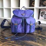 High Quality Prada Nylon Top Closure Womens Backpack Original Leather Spring/Summer 2015 Bag Collection, Violet