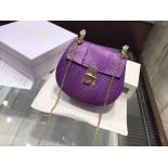 High Quality Replica Chloé Drew Perforated Small Shoulder Bag Python Leather, Purple