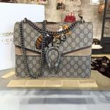 High Quality Replica Gucci Dionysus GG Supreme Canvas Shoulder Large Bag With Bee Embroidery Fall/Winter 2016 Collection, Beige Suede/Beige